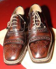 Bettanin & Venturi Norvegese Welt Shoes, Burgundy/Black, Antiqued,  US 10, Mint