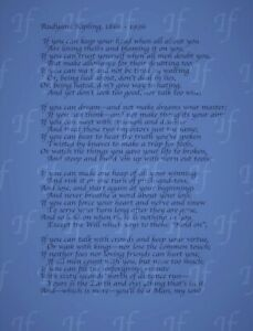 Rudyard Kipling IF Poem Blue Canvas  Print Wall Art Picture Size 12x16 Inch 18mm