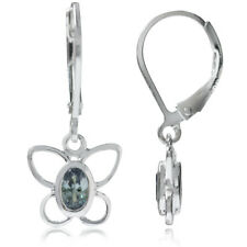 Simulated Alexandrite 925 Sterling Silver Butterfly Leverback Dangle Earrings
