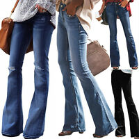 Womens Flare Pants High Waist Bell Bottom Skinny Wide Leg Denim Jeans Trousers
