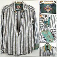 Robert Graham Mens SZ XXL Striped Flip Cuff Long Sleeve Button Down Shirt NICE!