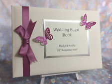 Glitter Butterfly Personalised Wedding Guest Book  / Party / Anniversary