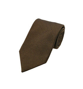 NWT Tom Ford Mens Textured Solid Tonal Dot Silk Neck Tie Brown