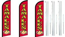 Tamales Windless Flag With Hybrid Pole set 3 pack