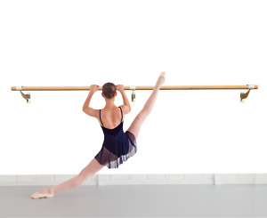"""Ballet Bar Single 2"""" Wood Fixed Height Wall Mounted Barre System 3' Ft to 40' Ft"""