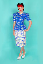 50s vintage inspired blue & white polkadot peplum pencil dress St Gillian Silks