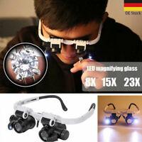 Uhrmacherwerkzeug Lupen LED Licht Gläser Lupe Brillenlupe Lupenbrille Glasses DE