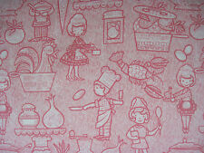 Kitchen Cooking Fabric Pink and White by the yard