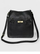 A New Day Women's Large Mailbag Handbag with Gold Flat Studs Black purse