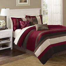 BEAUTIFUL MODERN ELEGANT RED BROWN BLACK WHITE STRIPE  SOFT COMFORTER SET NEW!