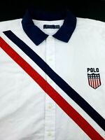 RALPH LAUREN Embroidered Red White Blue Patched Short Sleeve Shirt Big & Tall