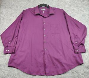 VAN HEUSEN Shirt Mens Size 20 30/35 Lux Sateen Big Wrinkle Free Button LS Dress