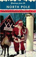 Vintage Postcard - Santa And Reindeer North Pole Workshop New York NY #4901