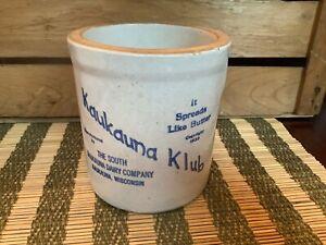 Vintage Kaukauna Klub Dairy Butter Stone Crock 3/4 Quart Planter Wisconsin