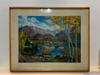 Vintage Landscape Oil Painting on Canvas Framed Signed D. L. Michaelsen