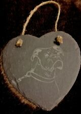 Slate Hanging Heart Shaped Boxer Dog Plaque
