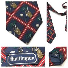Huntington VTG MEN'S NECK TIE GOLF Ball Basket RED NAVY SILK USA Flag  ⛳️ 🏌️