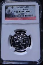 2007 CHINA 3 YUAN 25TH ANNIVERSARY SILVER 2000 PANDA ERROR NGC PF 69 ULTRA CAMEO
