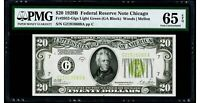 "$20 1928B Federal Reserve Note Chicago ""LIGHT GREEN SEAL"" PMG 65 EPQ Gem UNC"
