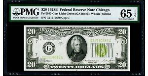 "$20 1928B Federal Reserve Note Chicago ""LIGHT GREEN SEAL"" PMG 65 EPQ Gem UNC"