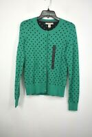 Banana Republic Womens Green Polka Dot Cardigan Button Front Rib Knit Imported S