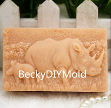 1pcs Rhinoceros (zx178) Silicone Handmade Soap Mold Crafts DIY Mould