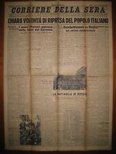 CORRIERE DELLA SERA  28/7/1943  Chiara volontà di ripresa del popolo italiano