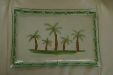 Glass Hand Painted Palm Tree Tray