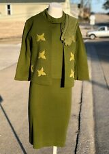 Vintage 1966 Cintura Green Acrylic 4 pc Jackie O Mod Gogo Skirt Suit w Gloves 11
