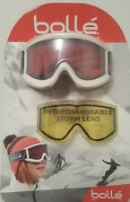 BOLLE Cylindrical Ski Snowboarding Goggles Unisex Bonus Storm Lens & Bag White