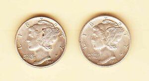 US MERCURY Head DIME 10 cents 1944 + 1945 Silver AU/UNC condition