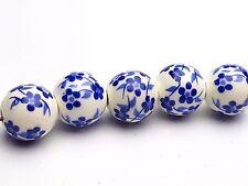 5 x Dutch BEADS/PERLE IN CERAMICA CON Blu Motivo Floreale
