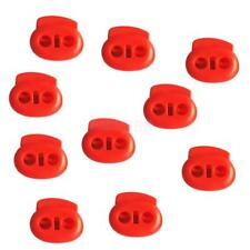 10x Plastic Bean String Cord Locks Double Hole Toggles Spring Clasp Stop End