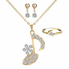 Music Note Pendant Necklace Crystal Gold Plated Earrings Ring As GIFTS