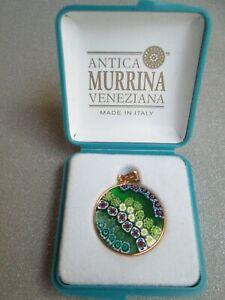 ANTICA MURRINA VENEZIANA PENDANT GOLD PLATED ROUND FRAME ORIG BOX