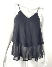 Mossimo Womens Small Solid Black Layered Sheer Tank Top Flowy NWT