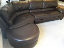 NATUZZI Corner Sofa Brown Leather L Shape and foot stool VERY GOOD CONDITION