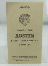 VINTAGE AUSTIN LIGHT COMMERCIAL VEHICLE PRICE LIST 1960s SEVEN A35 10 CWT ETC*