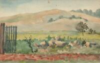 1916 ORIGINAL WATERCOLOUR PAINTING  of SCHOOL at COIGNEUX FRANCE POSTCARD - USED