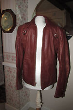 Vintage Retro Cafe Saxony Leather Biker Motorcycle Jacket Sz 36 RARE!!
