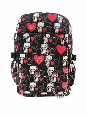 CAT LOVE HEART Cream Backpack Rucksack School College Gym Travel Goth Rock Bag