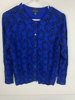 Lands End Women's Cardigan Sweater Royal Blue  & Black Cotton M/P Medium Petite