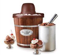 NIB Nostalgia Electric Wooden Ice Cream Maker Home Frozen Gelato  FREE SHIPPING