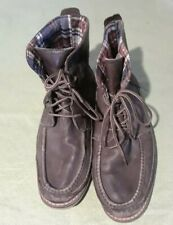 Toms Mens Brown Leather Moccasin Toe Lace Up Ankle Chukka Boots 13 Plaid Lined