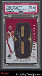 2007-08 SP Authentic By The Number LeBron James PSA 8 NM-MT PATCH AUTO 44/75