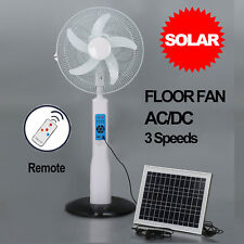 Solar Pedestal Fan Cool 3 Sd Floor Oscillating Deluxe Home White Ac Dc
