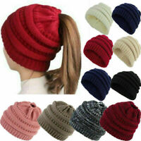 Womens Beanie Tail Messy Bun Hat Ponytail Stretchy Knitted Crochet Skull Cap Sy