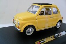 BURAGO 1:24 AUTO DIE-CAST CAR FIAT 500 F GIALLO YELLOW  ART 18-22098