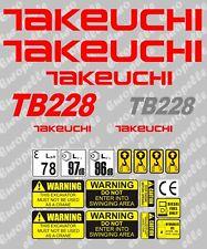 Decal Sticker set for: Takeuchi TB228  Mini Digger Pelle Bagger Excavator