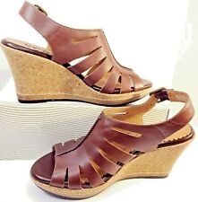Clarks Indigo Wedge Cork Sandals Brown Size 9M Open Toe Leather Upper Buckle